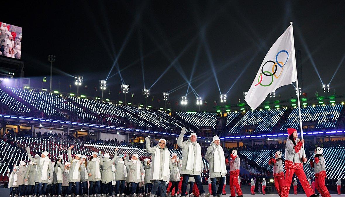 Российские спортсмены прошли под олимпийским флагом на открытии Олимпиады