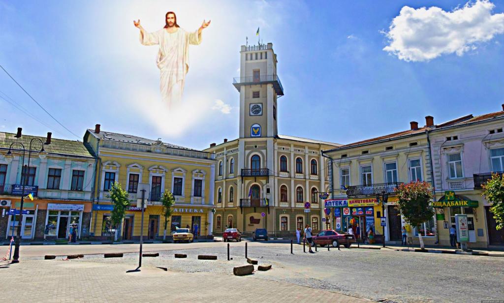 Образ Иисуса на небе.