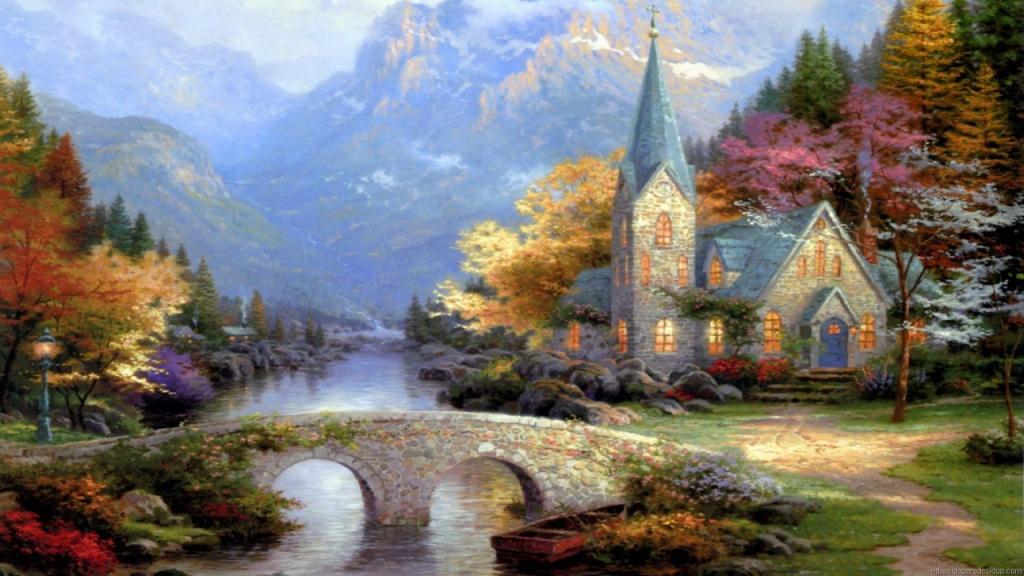 ТОМАС КИНКАЙДЕ (Америка) Томас Кинкейд — американский художник, отличался распространением печатных репродукций своих работ, в частности его картины часто встречаются на пазлах. Википедия