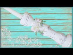 Подсвечник для высоких свечей в стиле шебби шик своими руками. Из гипса.