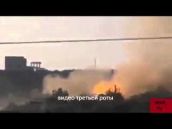 Взрыв танка в бою 05.03.2015