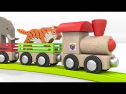 Животные для детей. Паровоз - зоопарк. Песенка - мультик со словами.