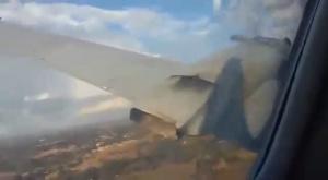 Пассажир самолёта снял его крушение