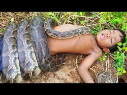 Жесть! Маленькие сестра и брат охотятся на огромных змей!