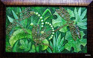 Золотые стрекозы (рельеф,роспись,акрил)