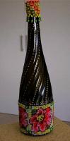 Декор бутылки бисером и точеченой росписью
