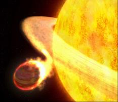 Хаббл запечатлел процесс поглощения звездой собственной планеты