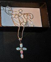 Крестик из Иерусалима серебрянный с опалом из