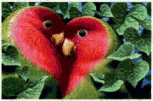 Сердечные попугайчики( Вышивка)