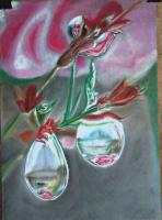 Росинки на веточках розы