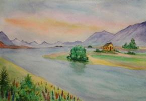 Татьяна Рябова. Тишина у реки (акварель)