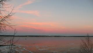 Волга в розовом! Ноябрь и день на закате.