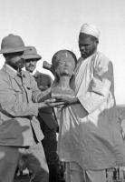 Знаменитый бюст Нефертити, сразу после его обнаружения в мастерской египетского скульптора, 1912 год