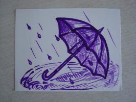 Улетевший зонтик.  чернила