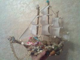 корабль из ракушек сделано моими руками