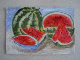Астраханские арбузы.  акварель.  (открытка)