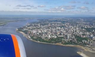 Амур и Хабаровск под крылом самолета