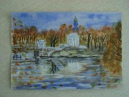 Ротонда на острове пруда в парке Дома Пионеров. Екатеринбург