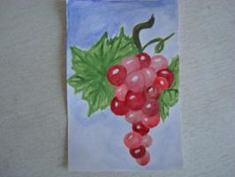 Гроздь винограда.  акварель