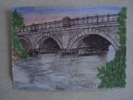 Царский мост. Екатеринбург.  Гуашь, ручка  (открытка)