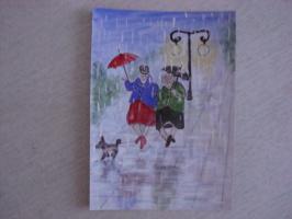 Что нам дождик проливной...  акварель   (открытка)