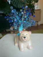 Бисерное дерево из квадро голубое
