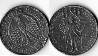 3 марки. 1000 лет крепости и городу Мейссен. 1929г.