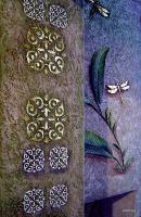 Золотые стрекозы. Барельеф, роспись.