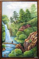 Мост через водопад (в цвете) (рельеф,роспись)