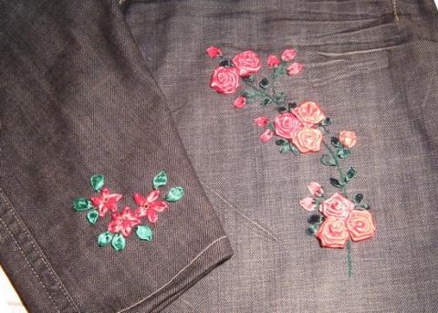 Вышивка лентами на джинсах 9