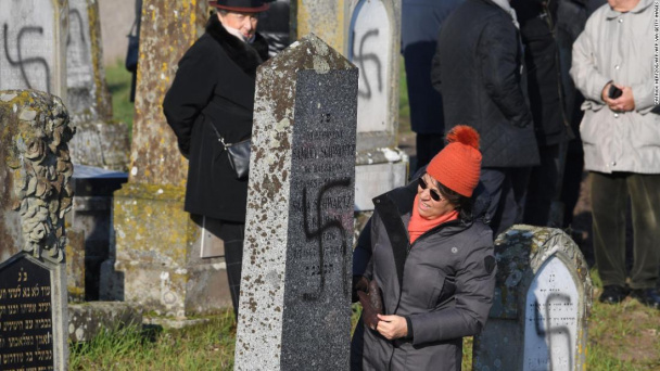 More than 100 graves defaced in Jewish cemetery in France
