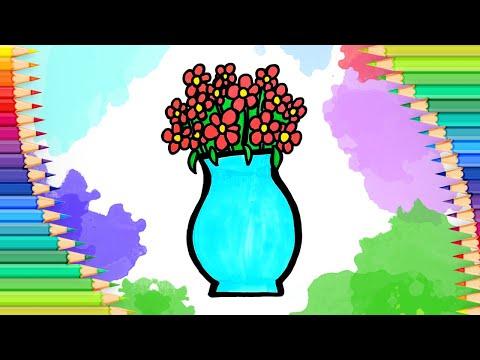 Как нарисовать цветы в вазе …