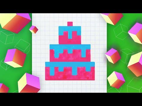 Торт – как нарисовать по кле…