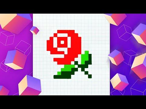 Рисуем розу по клеточкам l Pixel Art