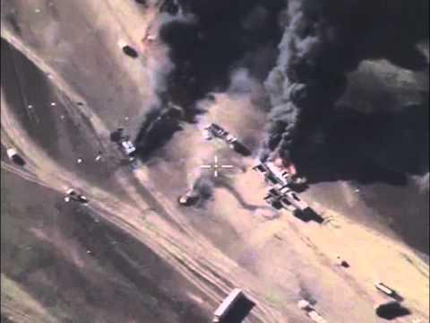 Минобороны РФ опубликовало видео уничтожения нефтяной автоколонны террористов в Сирии