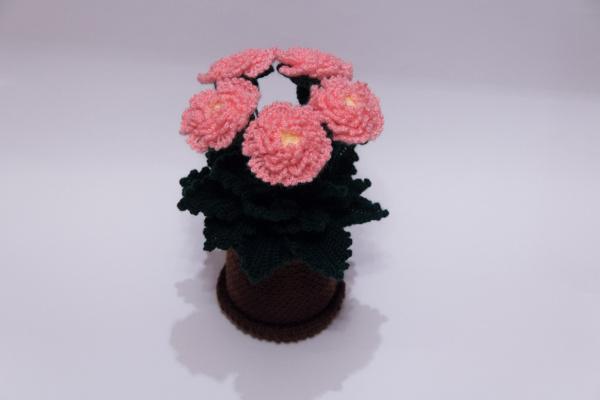 Вязаные цветы в горшочке крючком вязание Ольги