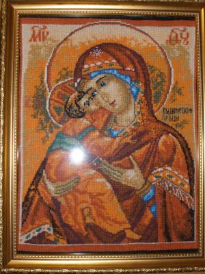 Вышивка икон. Владимирская икона Божией Матери вышитая 3