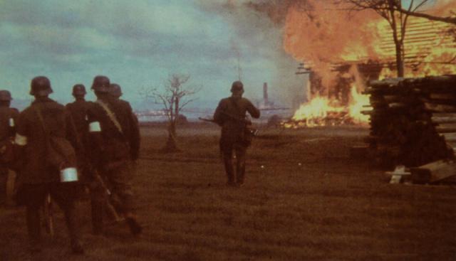 Немецкие солдаты проходят рядом с горящим домом в советской деревне