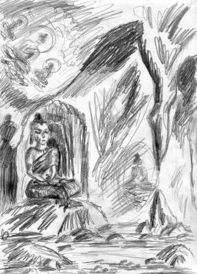 Лемуриец в пещере Тибета
