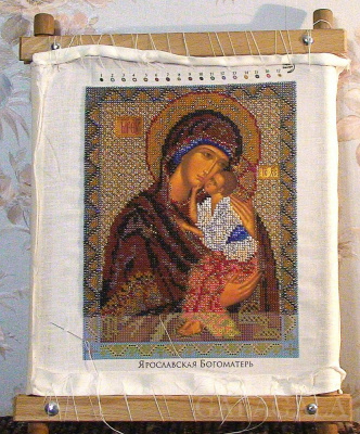 ФИРМА КРОШЕ , вышивала по набору для вышивания бисером Икона Ярославская Богородица