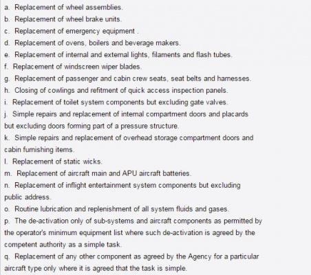 Список работ, которые может самомтоятельно выполнять авиатехник категории А
