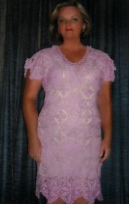 Вязаное платье крючком.Авторская работа мастера Бас Елены.Без схем и описаний.