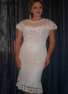 Авторская работа.Вязаное платье в технике ирландского кружева.