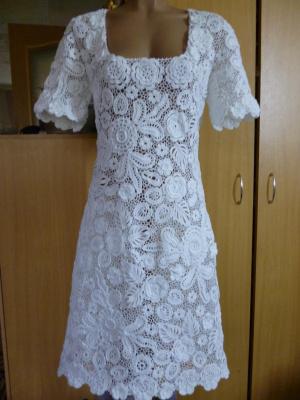 """Платье """"белоснежное"""",выполнено на заказ, 46 размер, пряжа хлопок(камтекс)"""