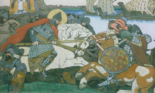 Александр Невский поражает ярла Биргере.1904