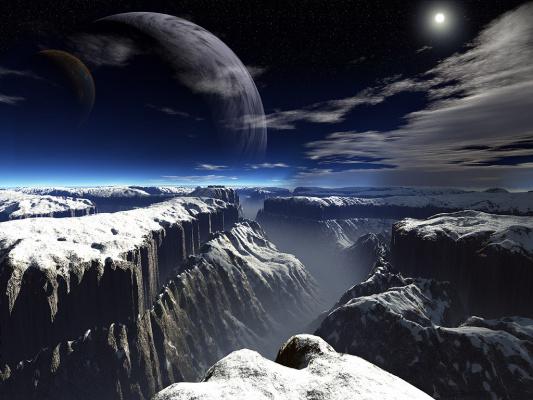 Вид луны на планете.