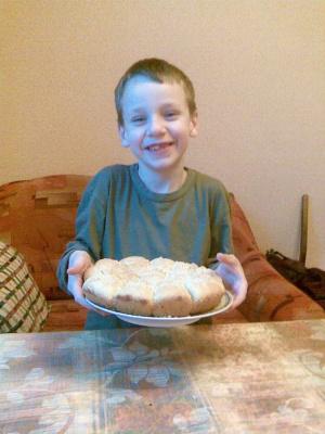 Мой внук Егор с именинным пирогом