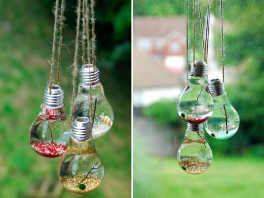 20 потрясающих идей применения использованных лампочек