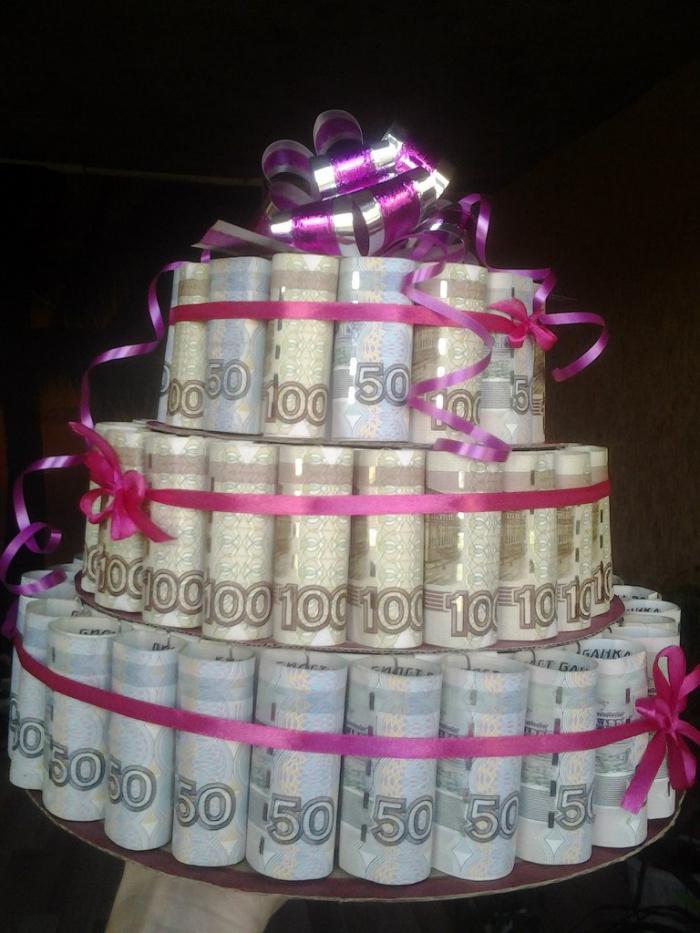 Слова к поздравлению денежным тортом