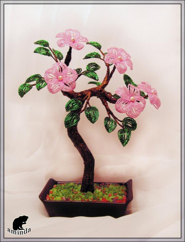 Бисероплетение цветов и деревьев с пошаговым фото